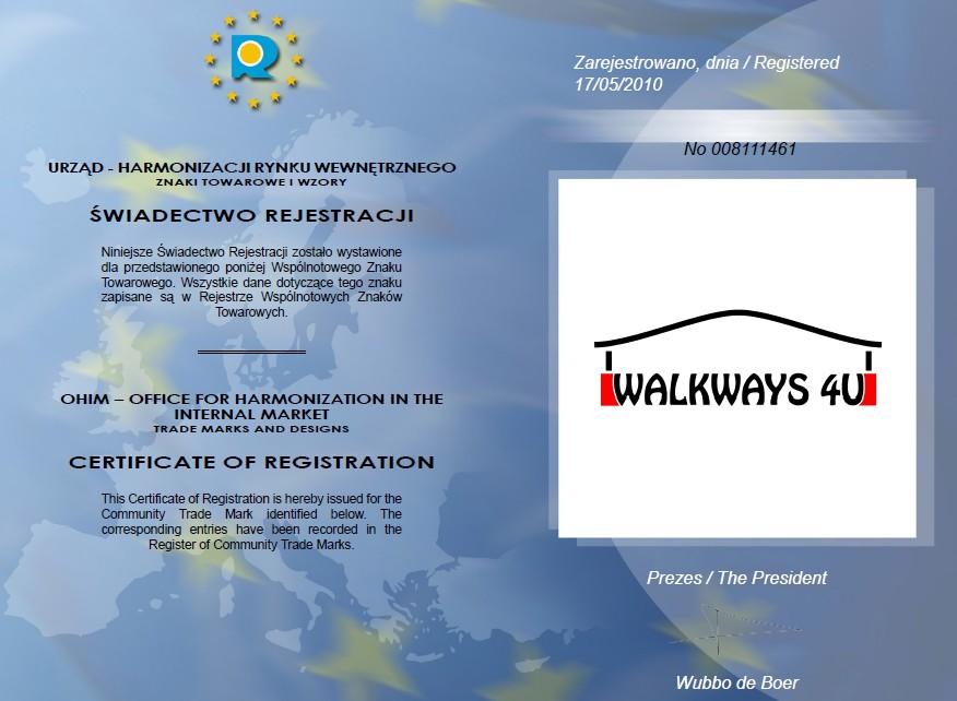 WRegistered Trademark Certificate WALKWAYS4U