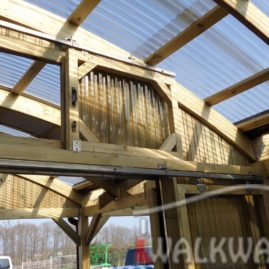 covered walkways wooden constructions laminated wood commercial space