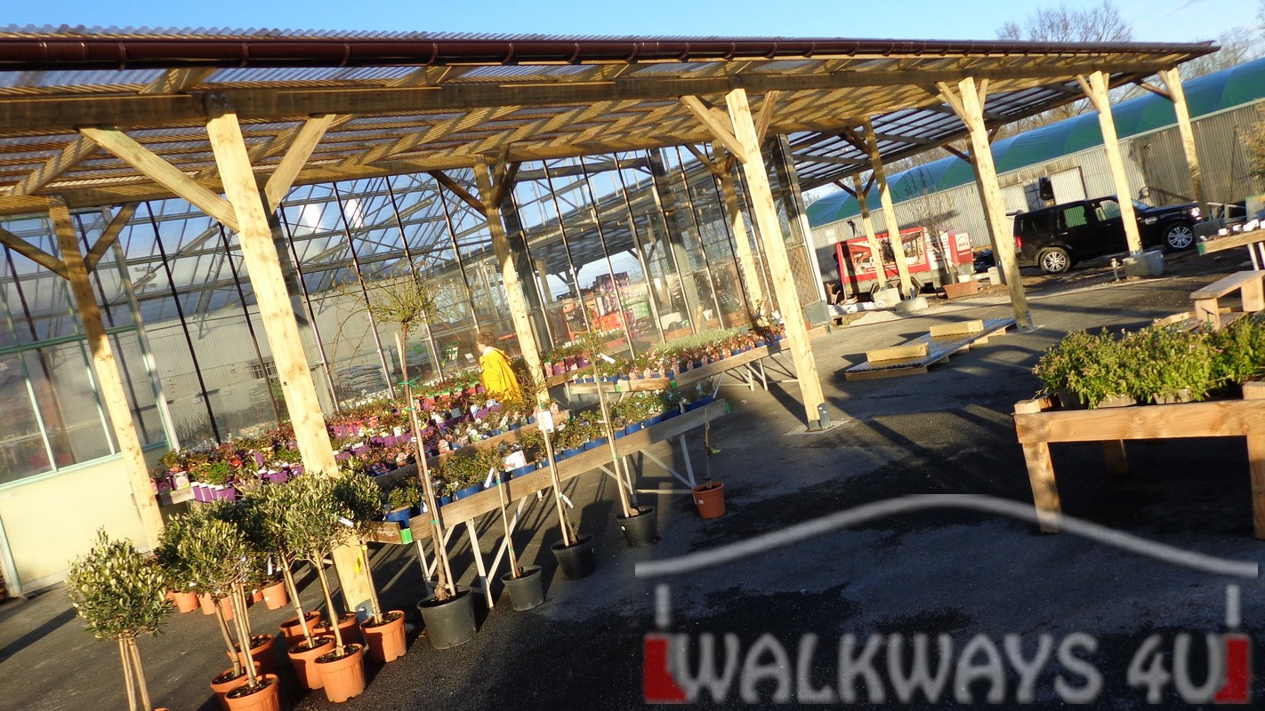 Wooden covered walkways constructions from laminated wood