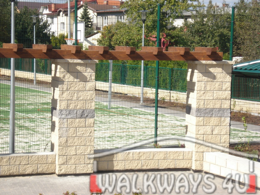 Wooden pergola constructions from laminated wood, covered walkways