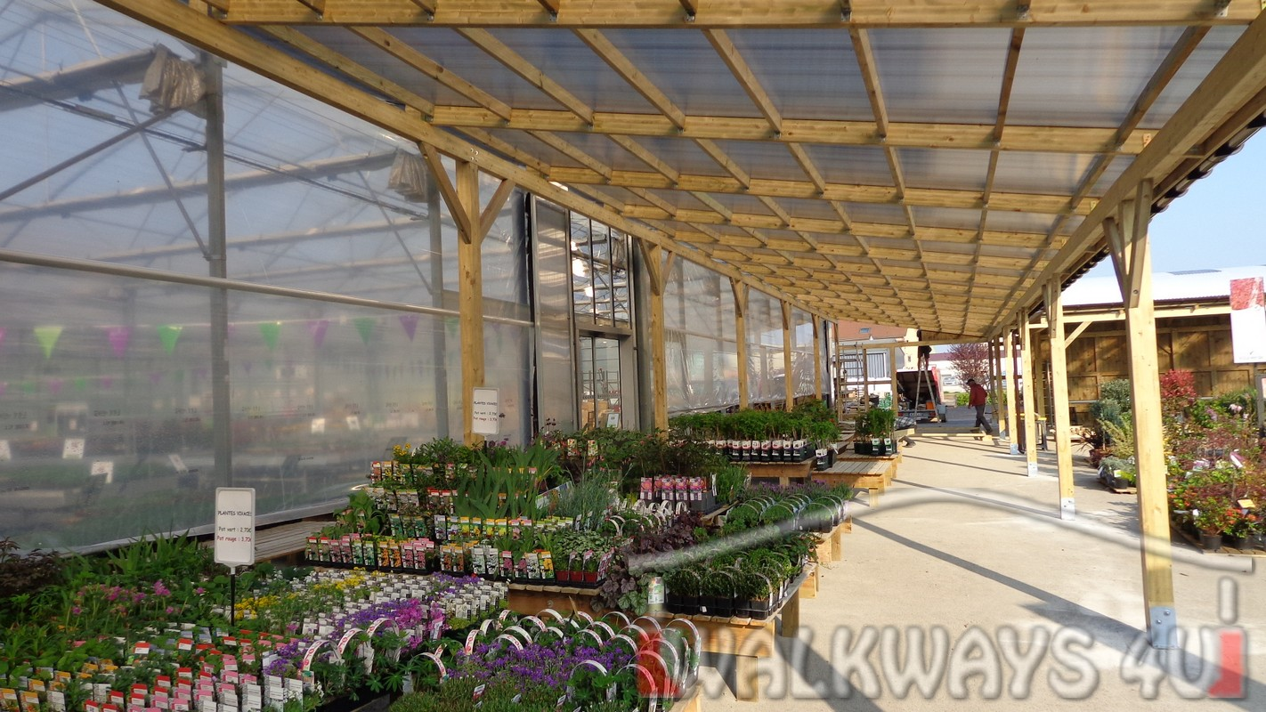 Construction wood covered commercial space walkways