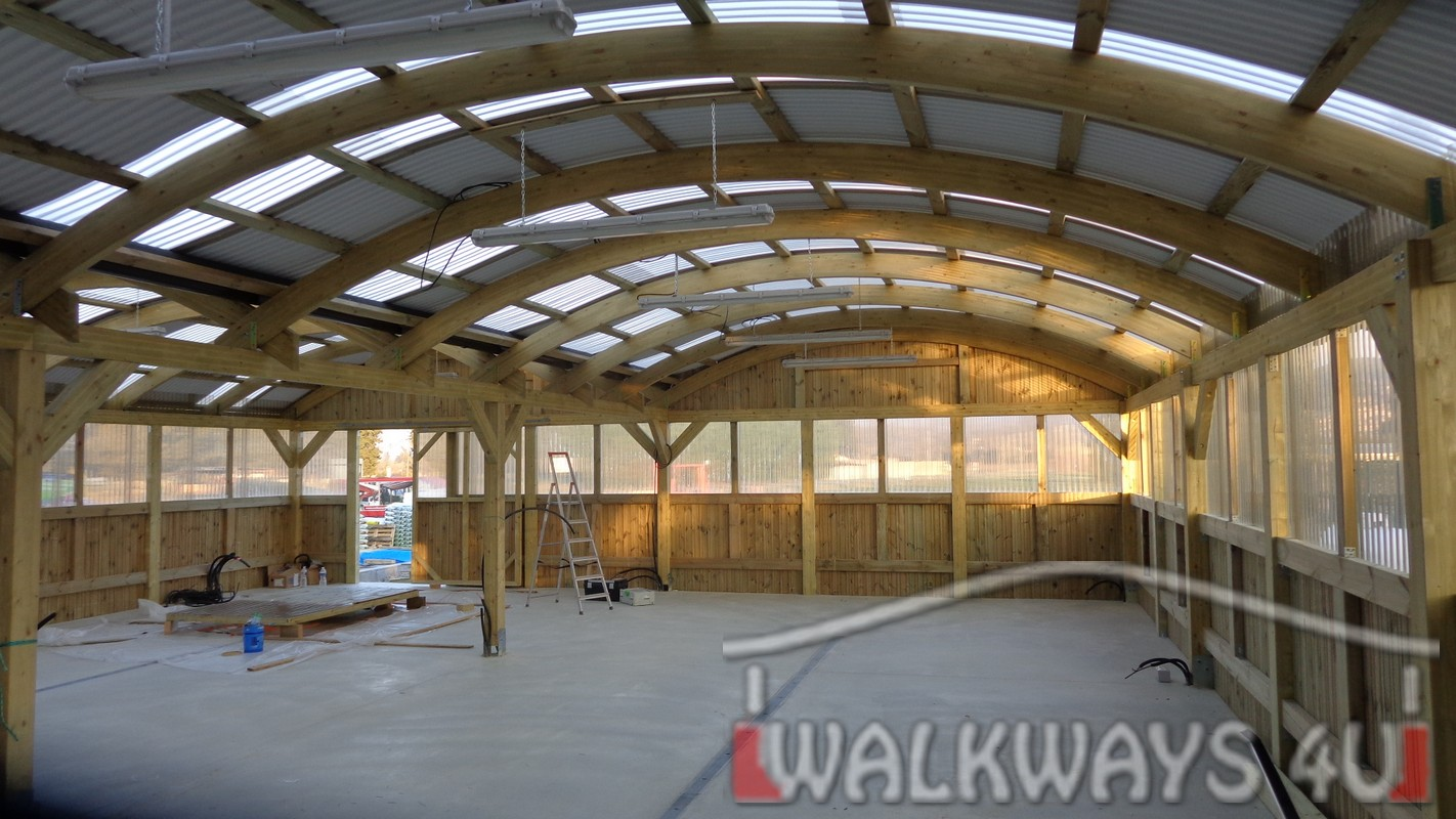 Wooden constructions covered walkways laminated wood