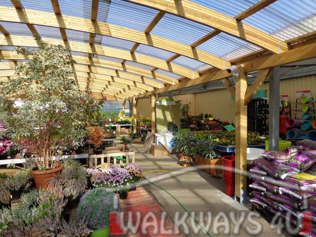 Constructions from laminated wood custom buildings walkways
