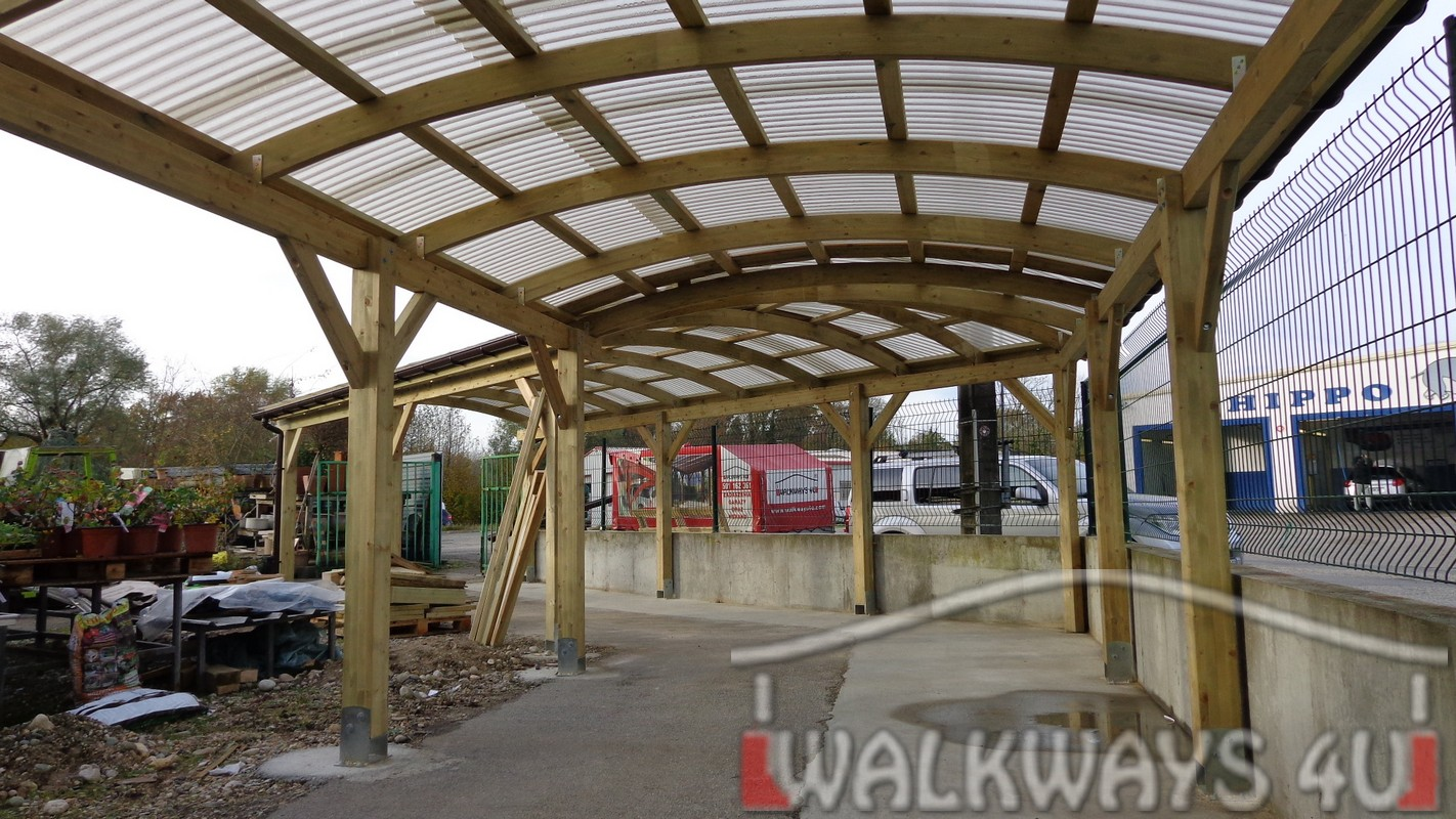 Covered wooden constructions design solutions, glazed facades, skylights, Tambour, shutters, terraces, verandas and carports