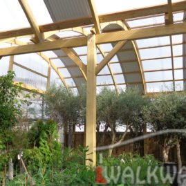 Constructions from laminated wood, expositions, garden centers, roofing, terraces