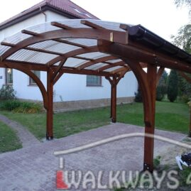Abris pour voitures construction en bois lamelle colle toiture polycarbonate