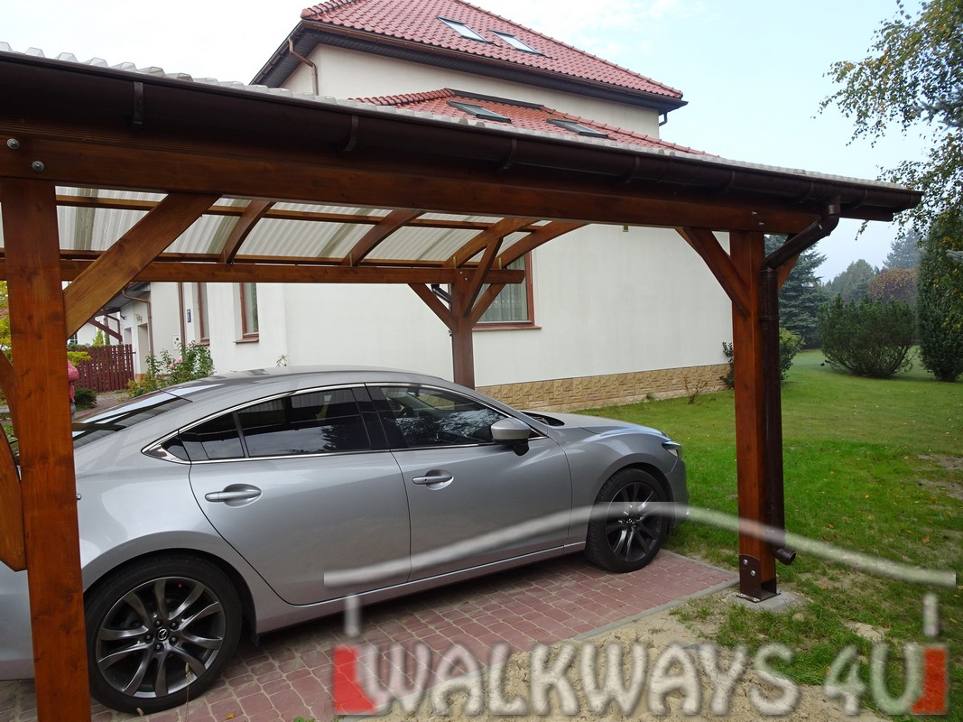 Wooden carports laminated wood constructions impregnated constructions timber covered walkways pathways