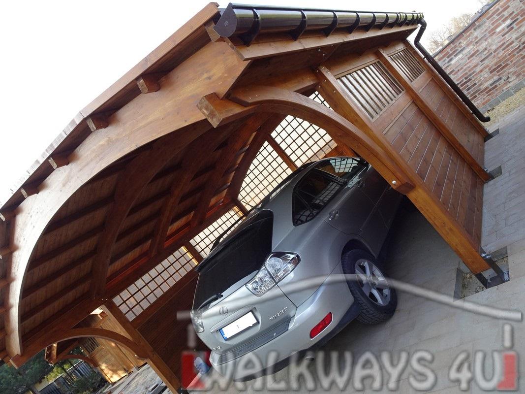 Wiata drewniana gara?owa na dwa samochody z zabudowanymi ?cianami, ?uki drewniane