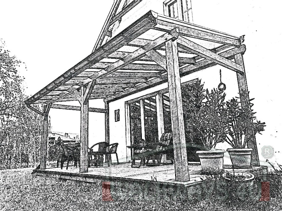 Photo 03. Zadaszenia taras?w, werandy drewniane, konstrukcje z drewna klejonego, drewniane tarasy pergole, wiaty