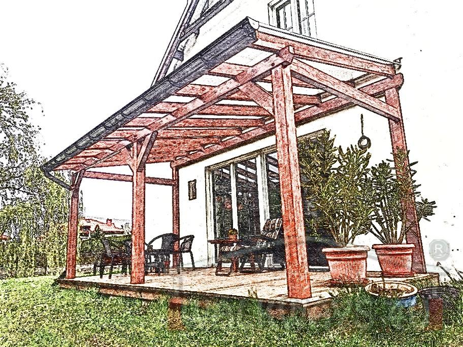 Photo 02. Zadaszenia taras?w, werandy drewniane, konstrukcje z drewna klejonego, drewniane tarasy pergole, wiaty