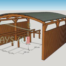 Image No 10 . Passages couverts, constructions en bois lamell?-coll?, espace commercial suppl?mentaire pour jardineries