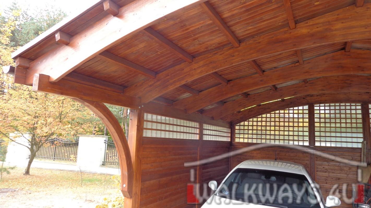 Zdjęcie nr  3. Drewniane wiaty garażowe, carporty z drewna, garaż drewniany z drewna klejonego, wiata garażowa na samochód