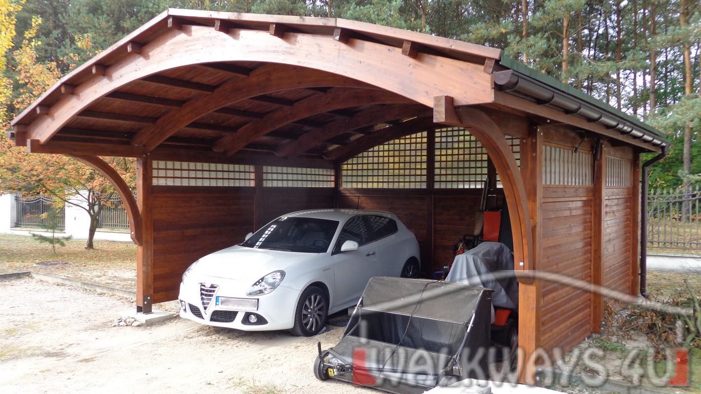 Zdjęcie nr  7. Drewniane wiaty garażowe, carporty z drewna, garaż drewniany z drewna klejonego, wiata garażowa na samochód