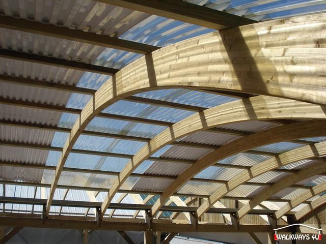 Image No 02.  Passages couverts, espaces commercial couvert, constructions en bois lamelle - colle, toitures, fermetures en bois