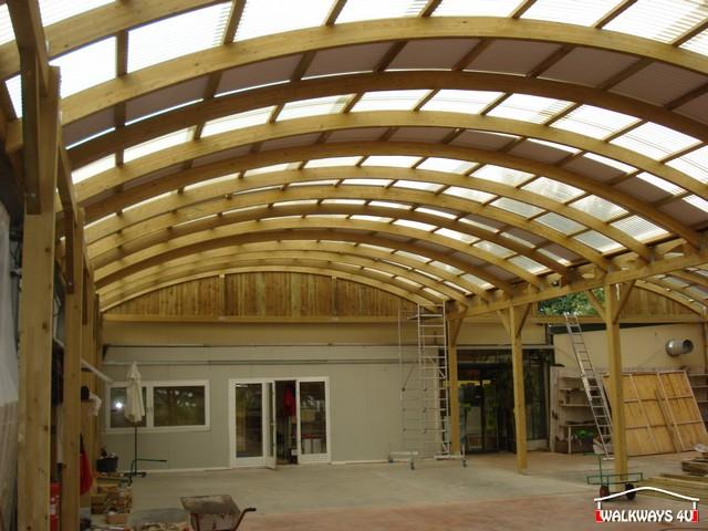 Image No  01.  Passages couverts, espaces commercial couvert, constructions en bois lamelle - colle, toitures, fermetures en bois