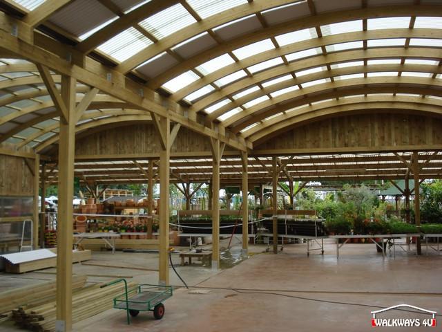 Image No  12.  Passages couverts, espaces commercial couvert, constructions en bois lamelle - colle, toitures, fermetures en bois