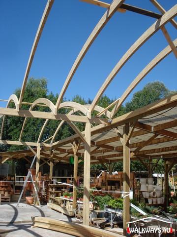 Image No 08 .  Passages couverts, espaces commercial couvert, constructions en bois lamelle - colle, toitures, fermetures en bois